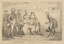 R-y-l Condescension - or a Foreign Minister astonished! - April 1817, by George Cruikshank, published by  George Humphrey - NPG D17897