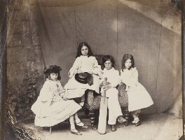 Alice Liddell; Ina Liddell; Harry Liddell; Edith Mary Liddell, by Lewis Carroll (Charles Lutwidge Dodgson), Spring 1860 - NPG P991(7) - © National Portrait Gallery, London and the National Media Museum (part of the Science Museum Group, London)