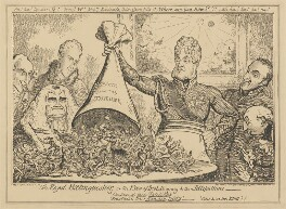 The Royal Extinguisher, or the King of Brobdingnag & the Lilliputians, by George Cruikshank, published by  George Humphrey, published 7 April 1821 - NPG D17902 - © National Portrait Gallery, London