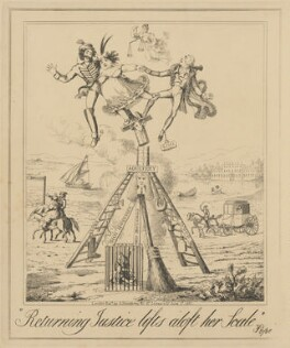 Returning Justice lifts aloft her Scale, attributed to Theodore Lane, published by  George Humphrey - NPG D17904a