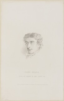 John Keats, by Charles Wentworth Wass, after  William Hilton - NPG D13956
