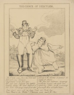 The Choice of Hercules (Bartolomeo Pergami; Caroline Amelia Elizabeth of Brunswick), attributed to Theodore Lane, published by  George Humphrey - NPG D17906b