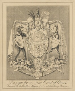 Design for a New Coat of Arms.  Dedicated to Mothers Wood, Windsor & Co. & all the Fancy Queens., attributed to Theodore Lane, published by  George Humphrey - NPG D17907a
