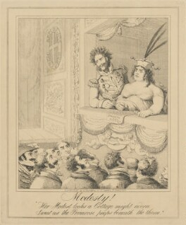 Modesty! (Bartolomeo Pergami; Caroline Amelia Elizabeth of Brunswick), attributed to Theodore Lane, published by  George Humphrey, published 7 June 1821 - NPG D17909a - © National Portrait Gallery, London
