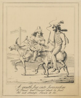 A gentle Jog into Jerusalem (Caroline Amelia Elizabeth of Brunswick; Bartolomeo Pergami), attributed to Theodore Lane, published by  George Humphrey - NPG D17922a
