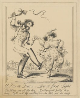 A Pas de Deux or Love at first Sight (Bartolomeo Pergami; Caroline Amelia Elizabeth of Brunswick), attributed to Theodore Lane, published by  George Humphrey - NPG D17922b