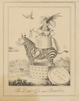 The Q-n's Ass in a Band-box (Sir Matthew Wood, 1st Bt; Caroline Amelia Elizabeth of Brunswick), attributed to Theodore Lane, published by  George Humphrey - NPG D17923b