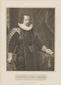 Francis Bacon, 1st Viscount St Alban, by James Fittler, after  Paul van Somer - NPG D14035