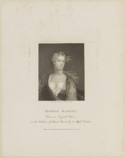 Martha Blount, by Charles Picart, published by  T. Cadell & W. Davies, after  William Nelson Gardiner - NPG D14073