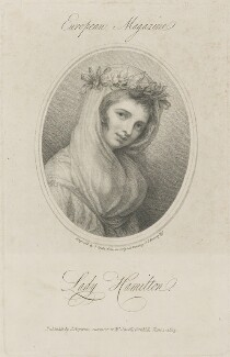 Emma Hamilton, by Jean Condé, published by  James Asperne, after  George Romney - NPG D14101