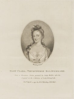 Marie Clare (née Des Champs de Maresilly), Viscountess Bolingbroke, by Silvester (Sylvester) Harding, published by  E. & S. Harding, after  Sarah Capell-Coningsby (née Bazett), Countess of Essex - NPG D14127