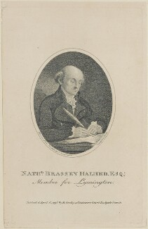 Nathaniel Brassey Halhed, by White, published by  Benjamin Crosby, after  Isaac Cruikshank - NPG D14146