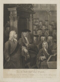 House of Commons, 1730, by Anthony Fogg, published by  Edward Harding, after  William Hogarth, and after  Sir James Thornhill - NPG D14174