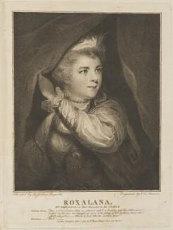 Frances Abington (née Barton) as Roxalana, by John Keyse Sherwin, published by  John Thane, after  Sir Joshua Reynolds, published 1 February 1791 (1782-1783) - NPG D14220 - © National Portrait Gallery, London