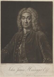 John James Heidegger, by and published by John Faber Jr, after  Jean Baptiste van Loo - NPG D14250