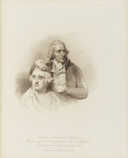 Joseph Nollekens with a bust of Charles James Fox, by Giovanni Vendramini, published by  T. Cadell & W. Davies, after  William Evans, after  Lemuel Francis Abbott - NPG D14363