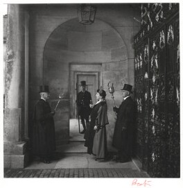 Edith Olivier as the Mayor of Wilton with three council officials, by Cecil Beaton - NPG x14173