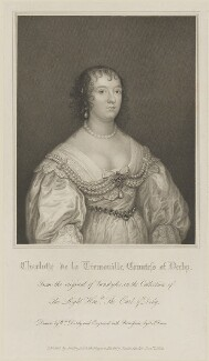 Charlotte Stanley (née de La Trémoille), Countess of Derby, by Thomas Anthony Dean, published by  Harding, Triphook & Lepard, after  William Derby, after  Sir Anthony van Dyck - NPG D14386