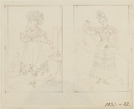 Two studies of fashionable ladies, by Edward Francisco Burney - NPG D14451