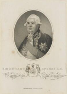 Sir Edward Hughes, by William Ridley, published by  Joyce Gold, after  Sir Joshua Reynolds - NPG D14487
