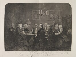 'A literary party at Sir Joshua Reynolds's', by D. George Thompson, published by  Owen Bailey, after  James William Edmund Doyle, published 1 October 1851 - NPG  - © National Portrait Gallery, London