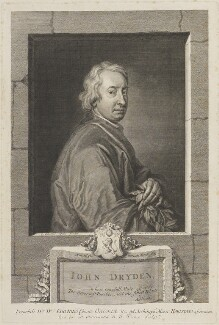 John Dryden, by George Vertue, after  Sir Godfrey Kneller, Bt - NPG D14535