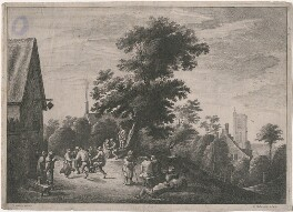 Peasants' Dance, by Wenceslaus Hollar, after  David Teniers Jr - NPG D18042