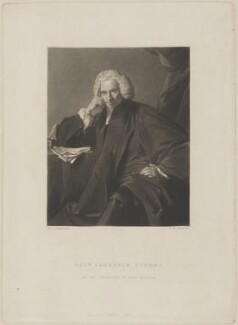 Laurence Sterne, by Samuel William Reynolds, published by  Hodgson & Graves, after  Sir Joshua Reynolds, published 1836 (1760) - NPG D14596 - © National Portrait Gallery, London