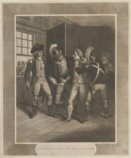 'General Lee taken prisoner' (Charles Lee), by Unknown engraver - NPG D14654