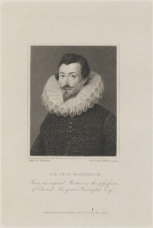 Sir John Harington, by William Henry Worthington, published by  W. Walker, after  John Thurston, after a painting attributed to  Hieronimo Custodis - NPG D14663