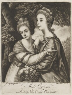 'Miss Crusses' (Elizabeth Hinchliffe (née Crewe); Emma Crewe), by Richard Brookshaw, published by  John Bowles, after  Sir Joshua Reynolds - NPG D14696
