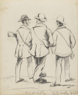 Going out Shooting, Castle Martyr (William Frederick Fownes Tighe; General Dixon; Richard Boyle, 4th Earl of Shannon), by Hon. Henry Richard Graves - NPG D18085(7)