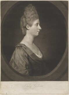 Maria Marowe (née Wilmot), Lady Eardley of Spalding when Lady Gideon, by Thomas Watson, published by  Robert Sayer, after  Sir Joshua Reynolds - NPG D14730