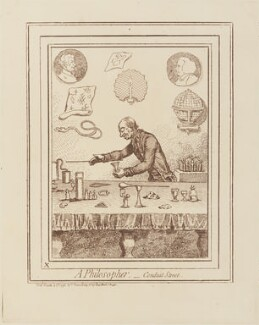 'A philosopher, - Conduit Street' (Joseph Priestley (in portrait); Adam Walker), by James Gillray, published by  Hannah Humphrey - NPG D14797