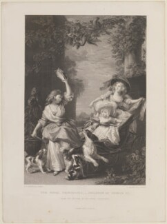 'The Royal Princesses - Children of George III' (Princess Mary, Duchess of Gloucester; Princess Amelia; Princess Sophia), by Robert Graves, published by  James Sprent Virtue, after  John Singleton Copley, (1785) - NPG D14844 - © National Portrait Gallery, London
