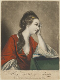 Mary (née Panton), Duchess of Ancaster, by Charles Spooner, published by  Robert Sayer, after  Sir Joshua Reynolds, (circa 1757-1759) - NPG D14884 - © National Portrait Gallery, London