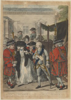 'Margaret Nicholson attempting to assassinate his Majesty King George III' (Margaret Nicholson; King George III), published by Carington Bowles - NPG D14894