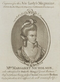 Margaret Nicholson, by Isaac Taylor, published by  Alexander Hogg - NPG D14895