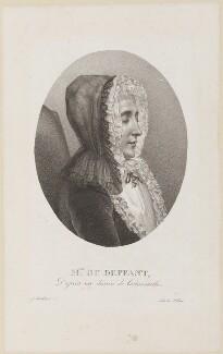 Marie Anne de Vichy-Chamrond (Vichy-Champrond), Marquise du Deffand, by Zéphirin Félix Jean Marius Belliard, printed by  François Le Villain, after  Louis Carrogis ('Louis de Carmontelle') - NPG D14941