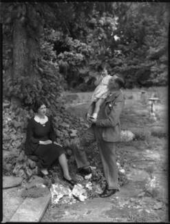 Elizabeth Joyce (née Glanley), Lady Scott; Diana Jean Fraser-Mackenzie (née Scott); Sir Douglas Winchester Scott, 2nd Bt, by Bassano Ltd - NPG x37220