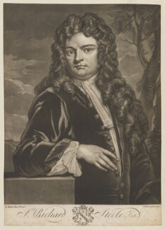 Sir Richard Steele, by John Faber Jr, after  Sir Godfrey Kneller, Bt, 1733 (1711) - NPG D14963 - © National Portrait Gallery, London