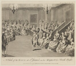 'A view of the ball at St James's on her Majesty's birth night', by Tukey, published by  Sir John Fielding, published by  John Sewell, published by  John Debrett, after  Daniel Dodd - NPG D14975