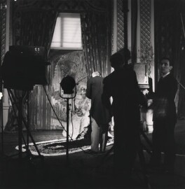 Queen Elizabeth II; Cecil Beaton and two assistants (John Drysdale; Ray Harwood), by Patrick Matthews - NPG x126167