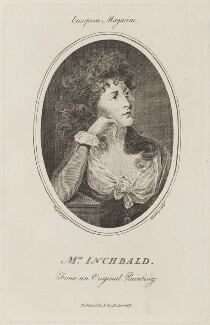 Elizabeth Inchbald (née Simpson), by Wooding, published by  John Sewell, after  John Russell - NPG D14985