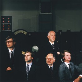 Ernest Walter Saunders with four members of the board of Guinness, by Toby Glanville - NPG x76640