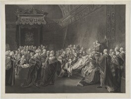 Death of the Earl of Chatham (includes William Pitt, 1st Earl of Chatham and 55 other sitters), by Francesco Bartolozzi, after  John Singleton Copley, published 1791 - NPG D18117 - © National Portrait Gallery, London