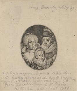 Anne of Denmark; King Charles I when Prince of Wales; King James I of England and VI of Scotland, by Simon de Passe - NPG D18186