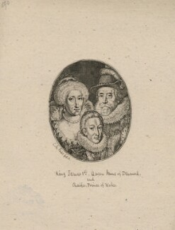 Anne of Denmark; King Charles I when Prince of Wales; King James I of England and VI of Scotland, by Simon de Passe - NPG D18187