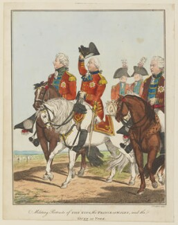 Military Portraits of the King, the Prince of Wales and the Duke of York (King George IV; King George III; Frederick, Duke of York and Albany), by C. Tomkins - NPG D15095