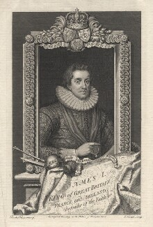 King James I of England and VI of Scotland, by George Vertue, after  Paul van Somer - NPG D18259